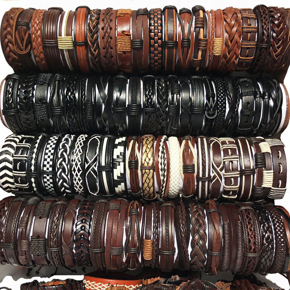 Wholesale lots bulk Random 50PCS/30pcs/Lot punk men's leather bracelets femme pulseras bileklik couple bracelet men jewelry WP2