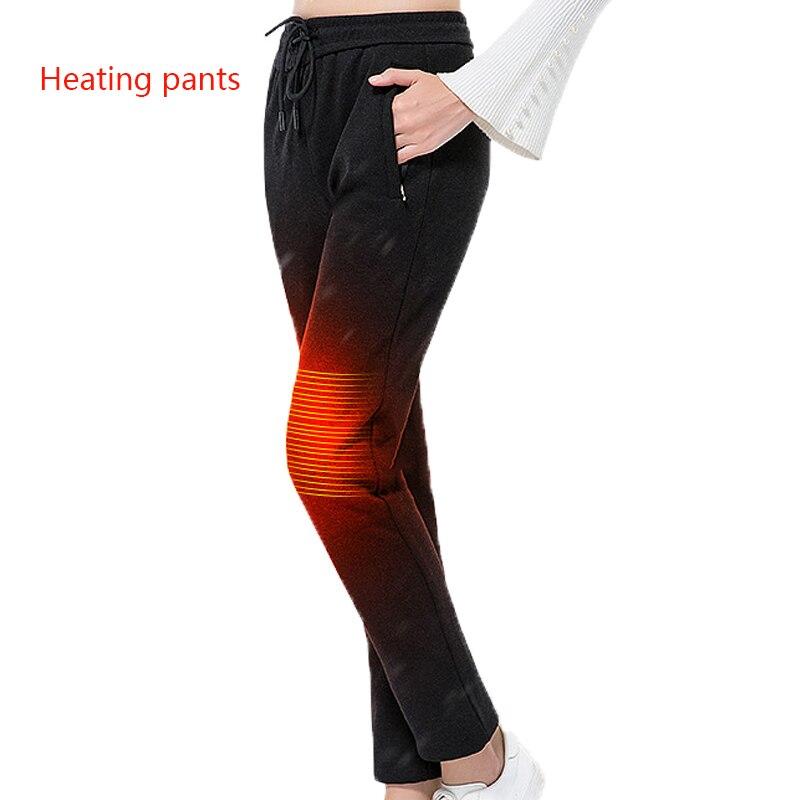 USB noir chauffé pantalon hiver femmes chauffage pantalon sport extérieur randonnée ski hiver intelligent fièvre coton pantalon escalade