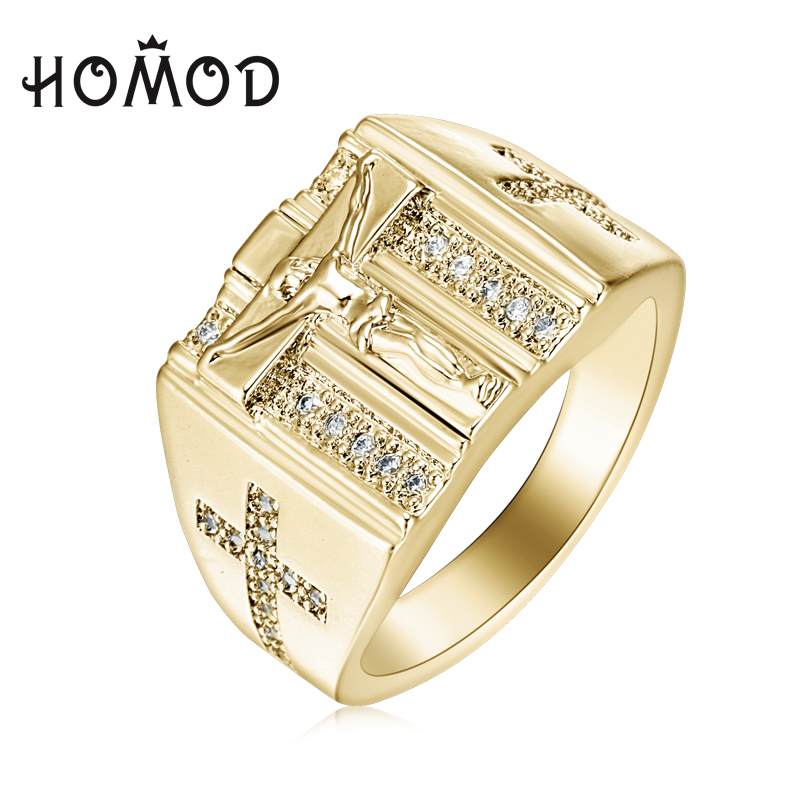 HOMOD Gold Rings Jesus Design Cross carved for Men Women Anillos White Cubic Zirconia Wedding Finger Ring Drop Shipping