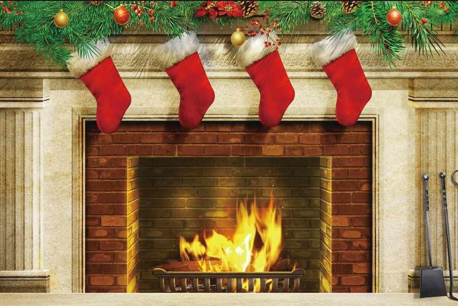 Christmas Fire Place Images.Laeacco Christmas Fireplace Stockings Pine Branch Baby Photography Background Customized Photographic Backdrops For Photo Studio
