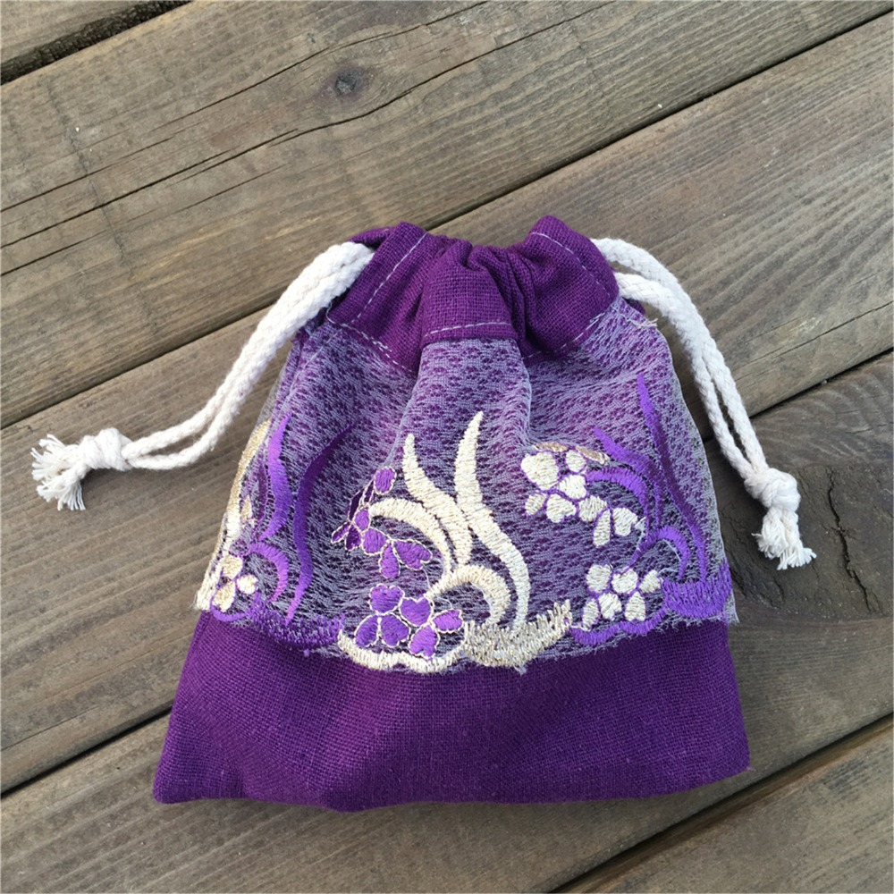 YILE 1pc Purple Cotton Linen Drawstring Pouch Party Gift Bag Embroidery Lace Trim YL812f