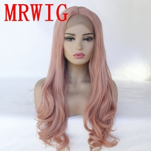 MRWIG Long Wavy 26in 320g Dark Pink Middle Part  Synthetic Lace Front Wig Heat Resistant for Woman