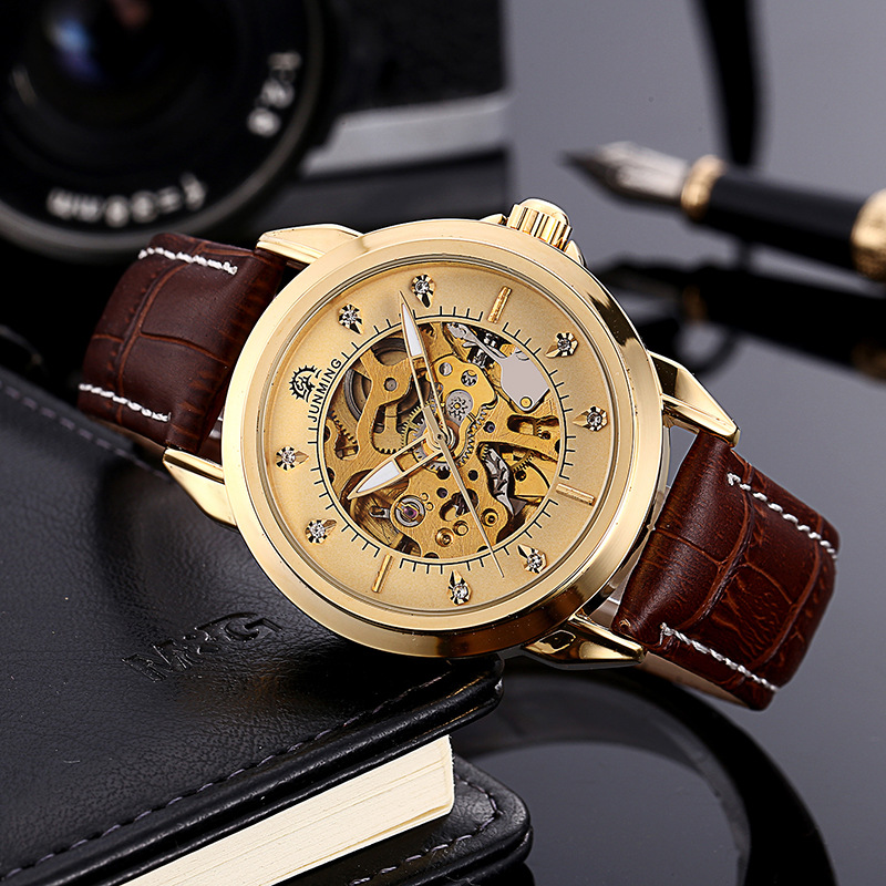 Fashion Gold Men Genuine Leather Watch Waterproof Automatic Mechanical Watches Diamond Drill Hollow Business Male Wrist Watches gucamel automatic mechanical watch hollow out design genuine leather band for men