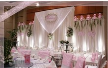 White Wedding Backdrops Curtain with Three Detachable Swag Party Decoration Background Curtain