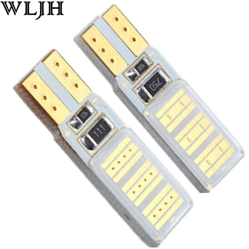 WLJH 1x COB Led Bulb No OBC Error T10 W5W Leds Auto Parking Interior License Plate Lamp Sidemarker Bulbs Canbus Car Led Light
