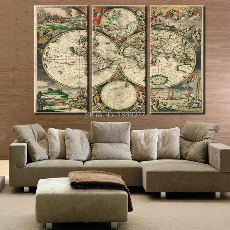 3 Pieces Wall Art Vintage World Map Picture HD Canvas Print Painting ...
