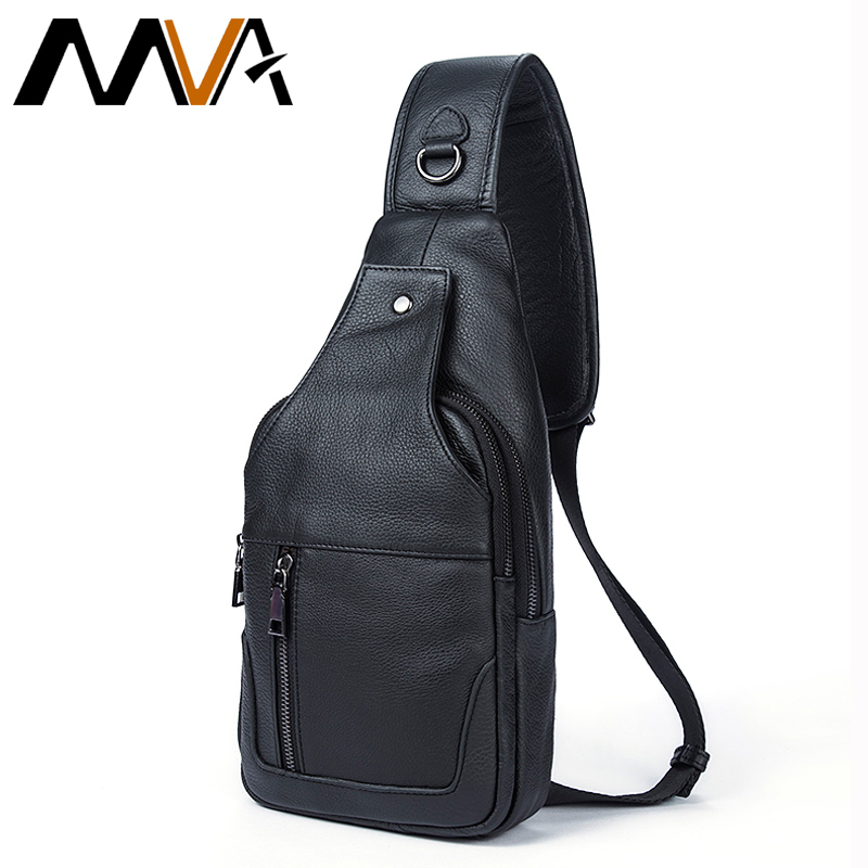 MVA Genuine Leather Men Bag Men Messenger Bags Small Waist Pack Leather Shoulder Crossbody Bags for Man Belt Sling Chest Bag laoshizi luosen genuine leather chest bag for men messenger bags vintage crossbody sling bag man shoulder bag small chest pack