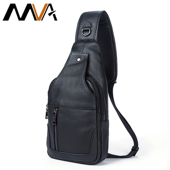 MVA Genuine Leather Men Bag Men Messenger Bags Small Waist Pack Leather Shoulder Crossbody Bags for Man Belt Sling Chest Bag genuine leather men waist packs travel chest bag unisex belt bag men money belt shoulder bag bum crossbody bags for women purse