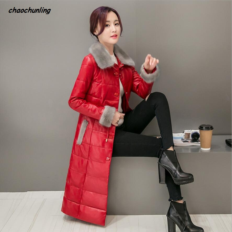 Korean Style 2017 New Winter Lady Jacket Super Warm And Waterproof Black And Red 2Colors High-Grade Sheepskin100% Women Coats