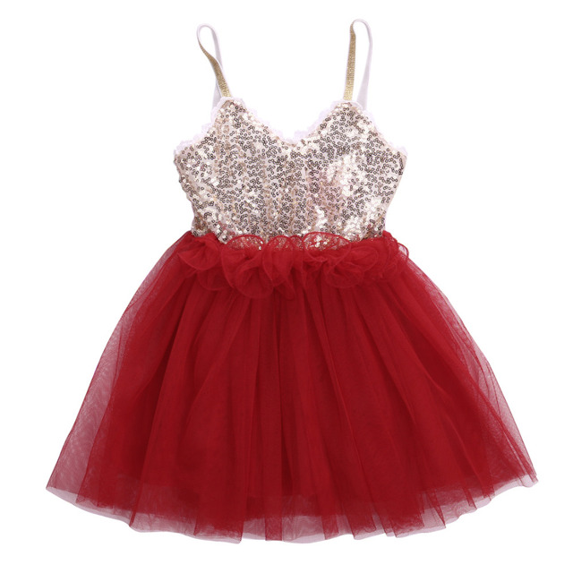 Summer 2018 Sequins Princess Baby Girl Sleeveless Spaghetti Strap Dress  Lace Tulle Party Gown Fancy Dresses 0b355d9d106e