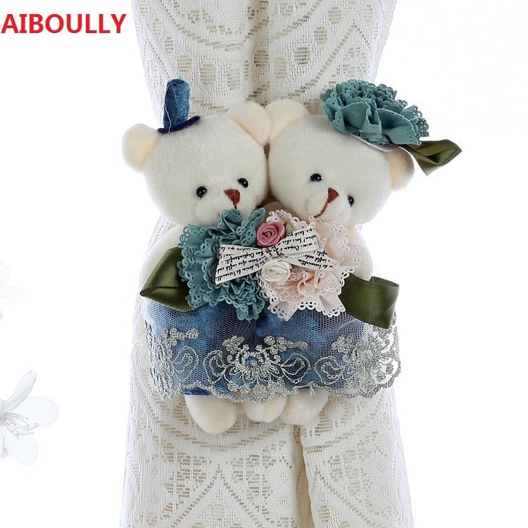 AIBOULLY One pair Cartoon Bear Curtain Buckle Strap Curtain Clip Curtain Wedding Pair <font><b>Holder</b></font> Buckle Bearcurtain Tieback Hook