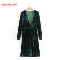 New Fashion Spring Summer Dresses Velvet Bow Tie Women Long Kimono Dress Casual Dark Green Vintage Vestidos Elegant Bodycon Fit