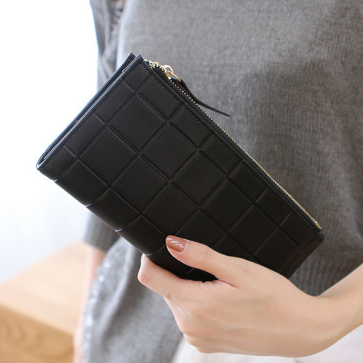 Fashion PU Leather Women Wallet Purple Grid Pattern Embossed Long Design Ladies Clutch Double Zipper  Coin Money Purses lorways 016 stylish check pattern long style pu leather men s wallet blue coffee