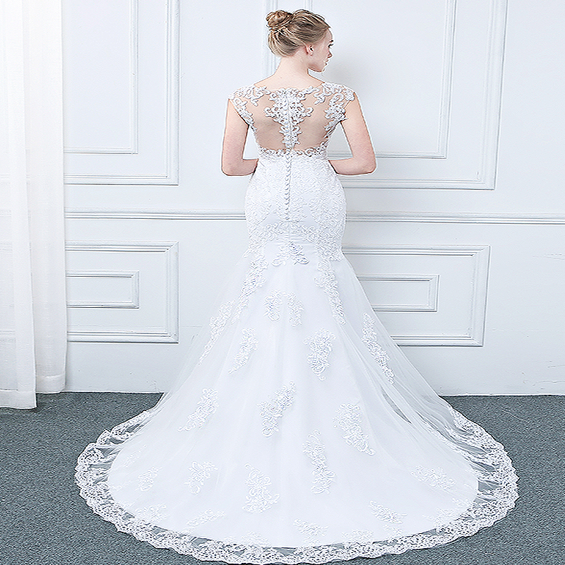 Vintage Lace Appliques Mermaid Wedding Dress