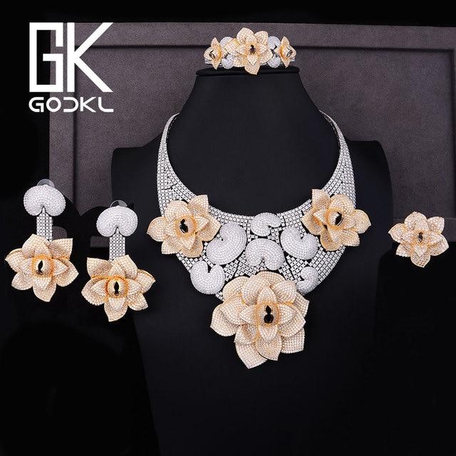 4a1459bfb880 GODKI Lujo Grandes Cannibal flower Cubic Zirconia nupcial joyería conjuntos  para mujeres boda joyería Africana conjuntos parure bijoux femme