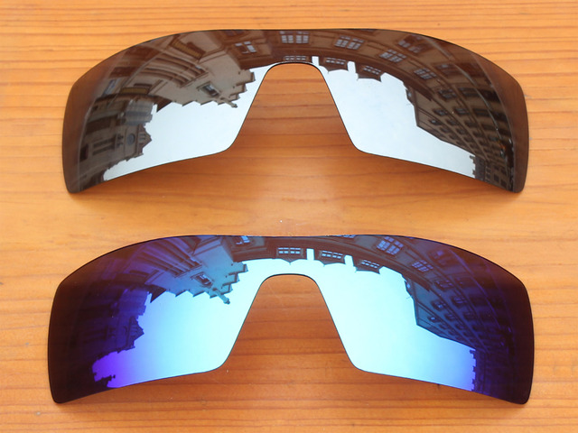 Ice Blue & Chrome Silver 2 Pieces Mirror Polarized Replacement Lenses For Oil Rig Sunglasses Frame 100% UVA & UVB Protection