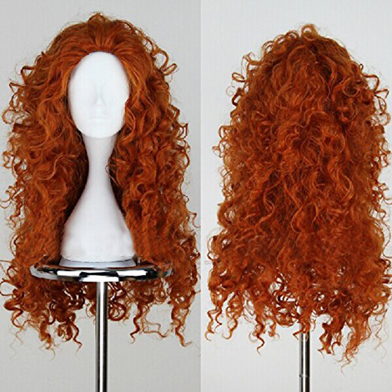Brave Merida Cosplay Wig Long Curly Wavy Role Play Synthetic Costume Wig Halloween Party Wigs Hair + Wig Cap