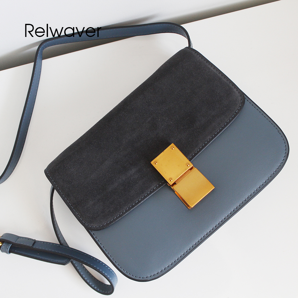 Relwaver cowhide split leather women messenger bags shoulder bags crossbody bags for women flap small lock cover box women bag 2017 fashion all match retro split leather women bag top grade small shoulder bags multilayer mini chain women messenger bags