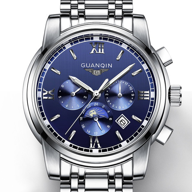 GUANQIN GJ16040 2017 GUANQIN Top Brand New Mechanical watches Men Fashion Luminous Watch Calendar Moon Phase relogio masculinoGUANQIN GJ16040 2017 GUANQIN Top Brand New Mechanical watches Men Fashion Luminous Watch Calendar Moon Phase relogio masculino