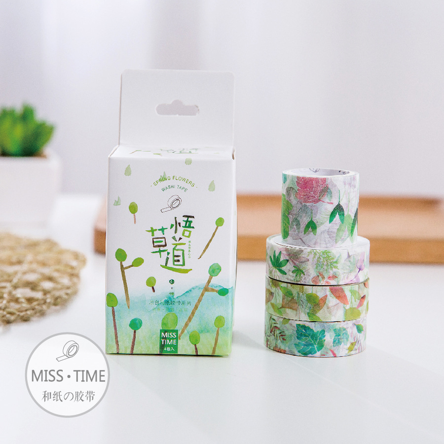 4 pcs/Lot Spring flowers washi tape 3+1 pack masking tapes Paper sticker for album scrapbooking Stationery School supplies 6319