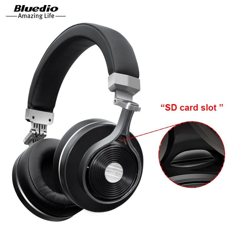 2017 Reale Auricolare Bluedio T3 +/T3 Più Originale Bluetooth Cuffie Wireless Headset con Slot Per Schede Sd per la musica cuffia