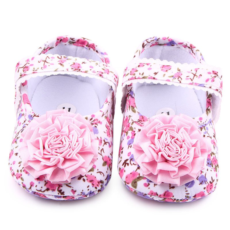 New Infant Toddler Sweet Baby Girls Kids Shoes First Walkers Pink Rose Floral Party Shoes Soft Walking Shoes