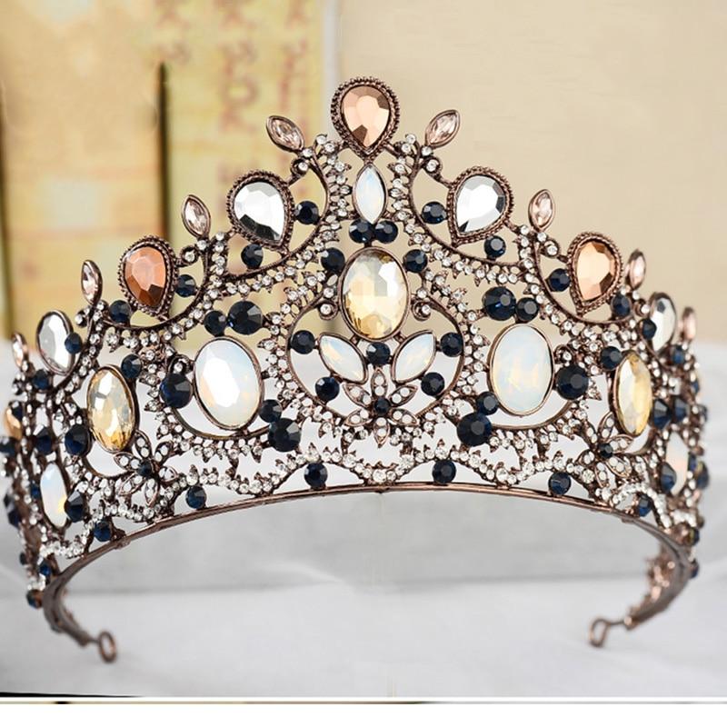 تيجان ملكية  امبراطورية فاخرة 2017-New-Charm-Bridal-Wedding-Large-Crystal-Tiara-Vintage-Bronze-Crowns-for-Women-Queen-Princess-Party