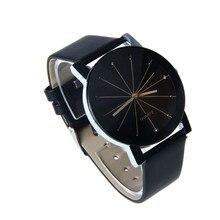 2016 Relogio Feminino Women Men Analog Quartz Clock Hour Watch Leather Wristwatch Reloj Mujer Round Case Time Clock Gift