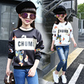 Mariposa Modelada Adolescente Niñas de Manga Larga Camisetas Top 2016 Otoño Nuevas Muchachas de Los Cabritos Hoodies Sudaderas Negro Blanco Camiseta de Algodón
