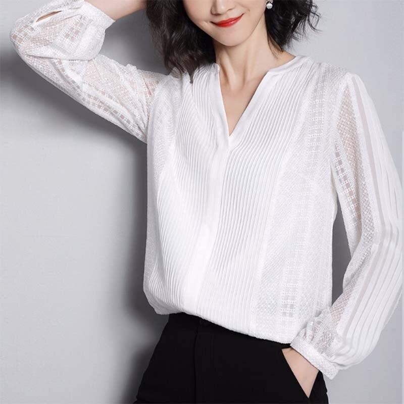 Chemise en dentelle de couleur unie 2019 été nouveau Style élégant dames chemises en soie pull mûrier soie hauts femmes S0985 - 2
