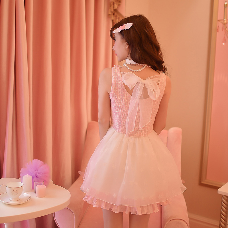 Princess sweet lolita pink dress Candy rain Bow decoration A line round collar font b tartan