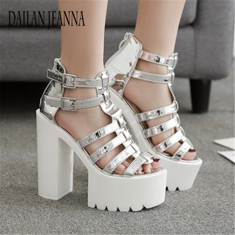 Summer 2018 New Waterproof platform 16cm Super High Heel Sandals Women's muffin shoes 34 yards Women's shoes Europe sandals genuine leather new woman s shoes high heel 10cm platform 1cm female summer small yards small yards eur size 34 39 page 5