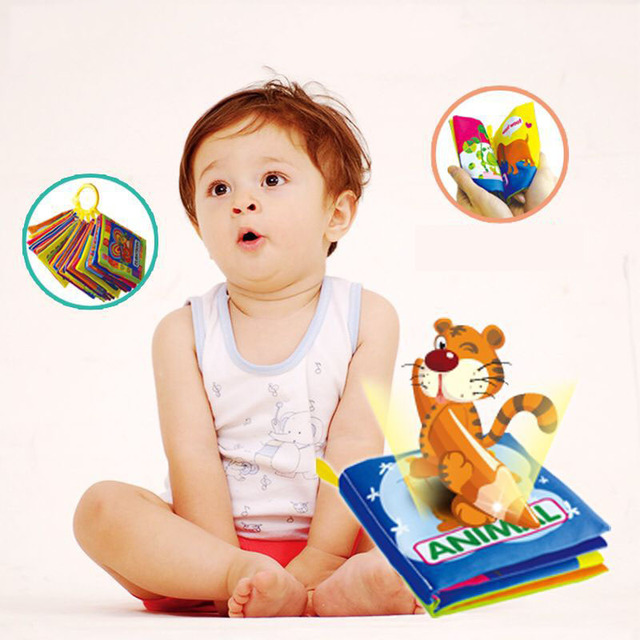 Newborn cartoon sound papper infant toys Car Vegetables Fruits Math Animal soft cloth books baby Learning enlighten story book