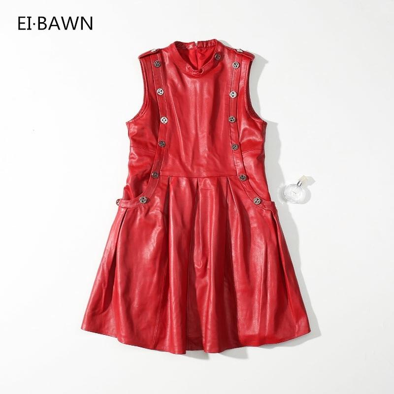 2018 Платья для женщин для без рукавов и пуговицы черный, красный из натуральной овчины Элегантный Винтаж Платье High Street Твердые Fit And