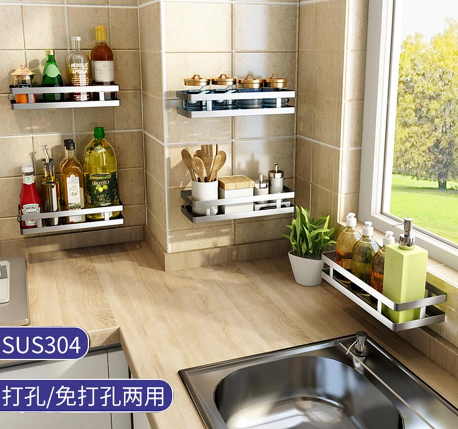 Kitchen seasoning shelves save space stainless steel without punching the wall hanging on the wall condiment storage shelves in Storage Holders Racks from Home Garden