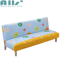 Blue And Yellow Sofa Bed Covers With Flowers Pattern Universal Armless Couch Sofa Slipcovers For Living