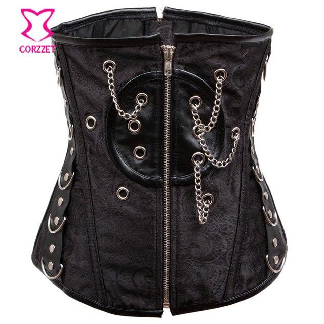 Black Brocade Steel Boned Underbust Corset Gothic Clothing Corselet Zipper Steampunk Corsets and Bustiers Korsett For Women Sexy