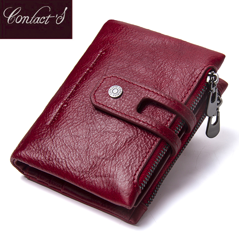Contact's Fashion Short Women Wallet Female Genuine Leather Womens Wallets Zipper Design With Coin Purse Pocket Mini Wallet Red