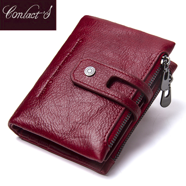 Contact's Fashion Short Women Wallet Female Genuine Leather Womens Wallets Zipper Design With Coin Purse Pockets Mini Walet 2018