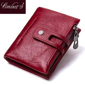 Image 1 - Contacts Genuine Leather Fashion Short Wallet Women Zipper mini Rfid Coin Purse Mini card holder Wallets for women women portfel
