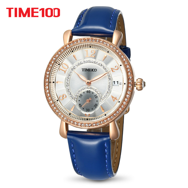 TIME100 Women Watches blue leather Bracelet Quartz Waterproof Wrist Watches For Women alloy Dial Ladies Clock relogio feminino