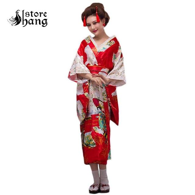 7dd72a7053 Women s Japanese Kimono Robe Gorgeouse Traditional Peacock Floral Yukata  Kimono Belt Outfit Geisha Costume Cosplay Dressing Gown