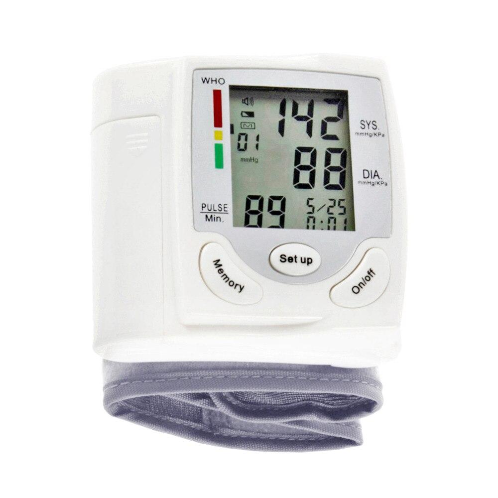 Digital de pantalla LCD Digital muñeca Monitor de presión arterial pulso medida Metro Tonometer Sphygmomanometer blanco