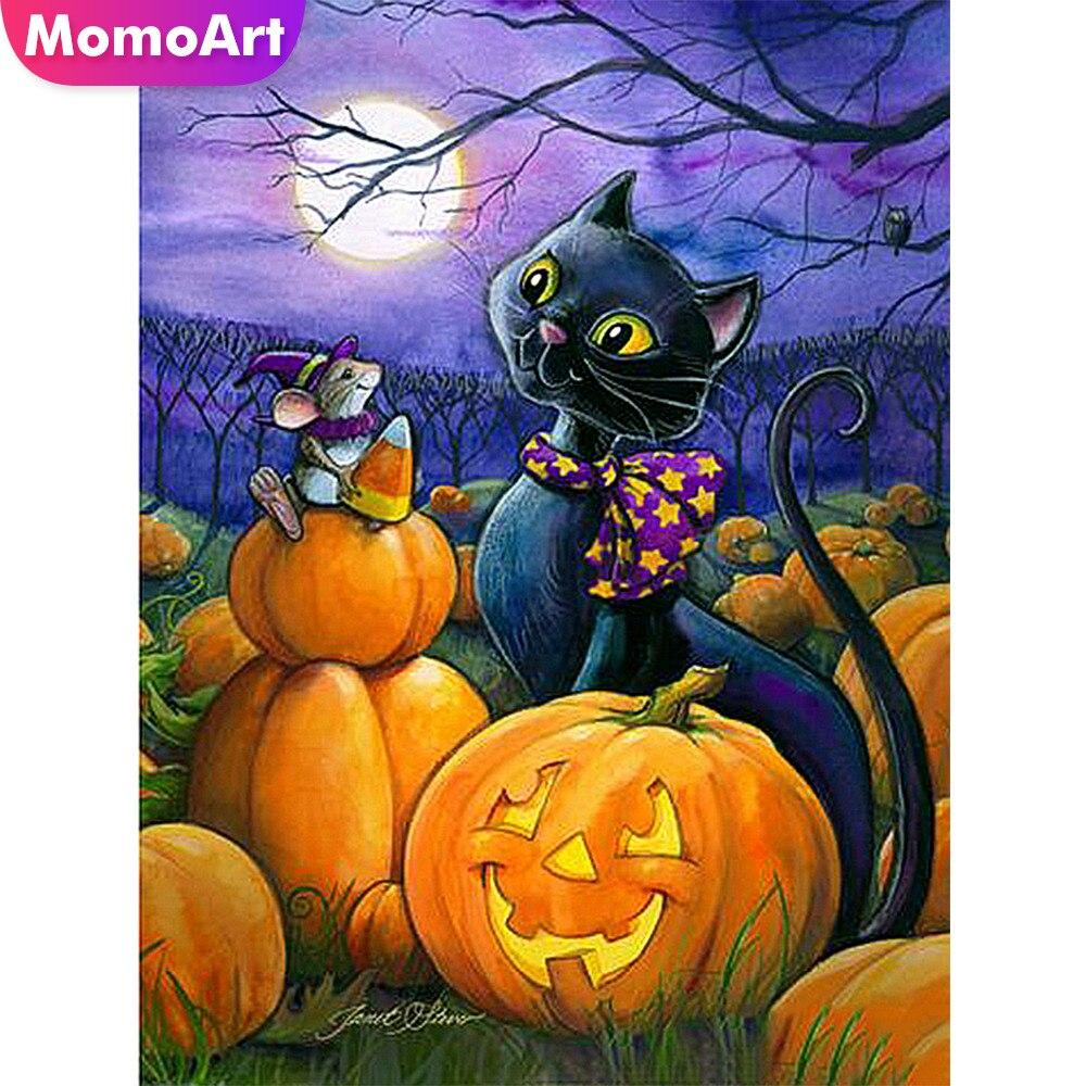 MomoArt Diamond Painting Cartoon Halloween Embroidery Full Square Rhinestone Mosaic Cat Home Decoration
