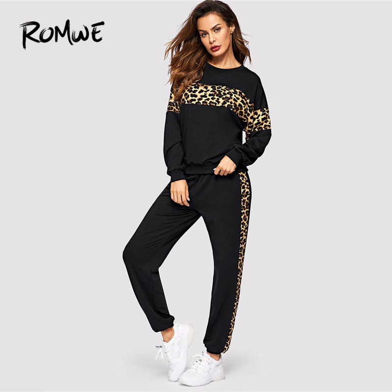 Romwe Sport Black Leopard Panel Pullover And Sweatpants Women Sportwear Set 2019 Spring Active Wear Running Jogging Suits