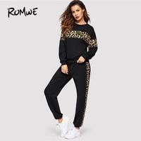 Romwe Sport Black Leopard Panel Pullover and Sweatpants Women Sportwear Set 2019 Spring Active Wear Running Jogging Suits