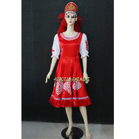 High Quality Customized Traditional Russian Costume,Russian National Costume With Headwear Red Color For Adult Or Children HF018