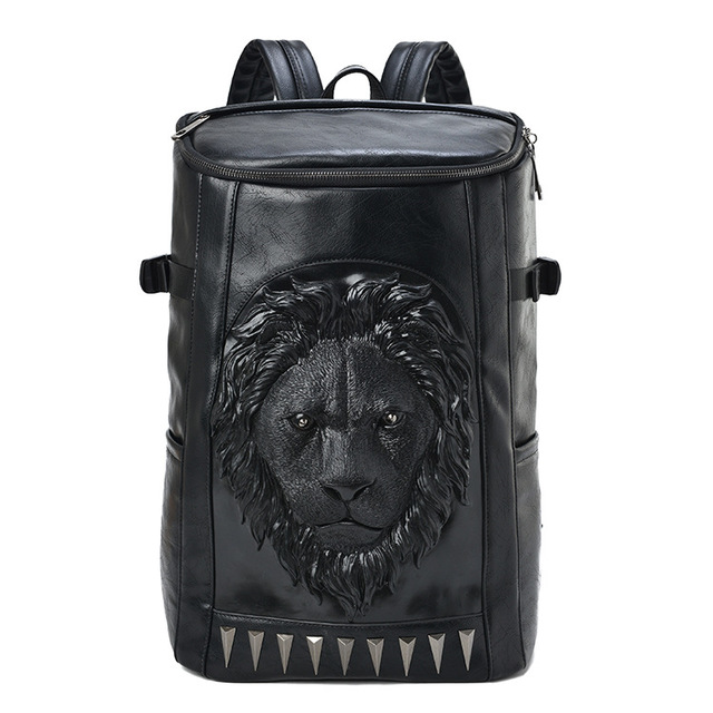 3d em relevo cabeça do leão balde mochila macia com picos impressionantes couro legal viagem escola bagpack punk rock concert sacos