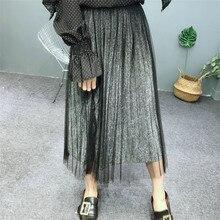 2019 Korean new Spring Fairy gold and silver long mesh pleated skirt vintage bottom skirt swing long mesh gauze skirts недорго, оригинальная цена