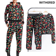 Withered BTS two piece set women sutis england style floral embeoidery velvet hoodies and pants sweatshirt  2 piece set women